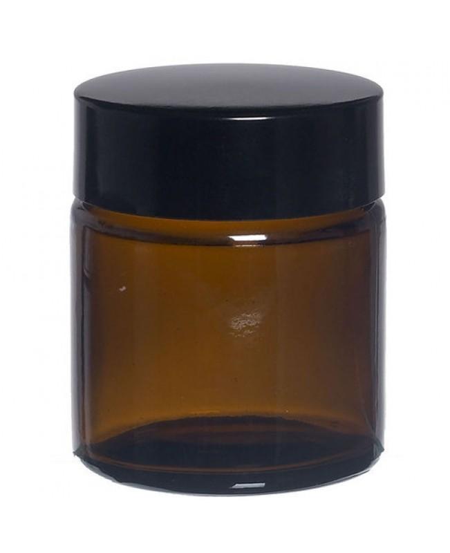 Borcan sticla bruna 30 ml cu capac negru