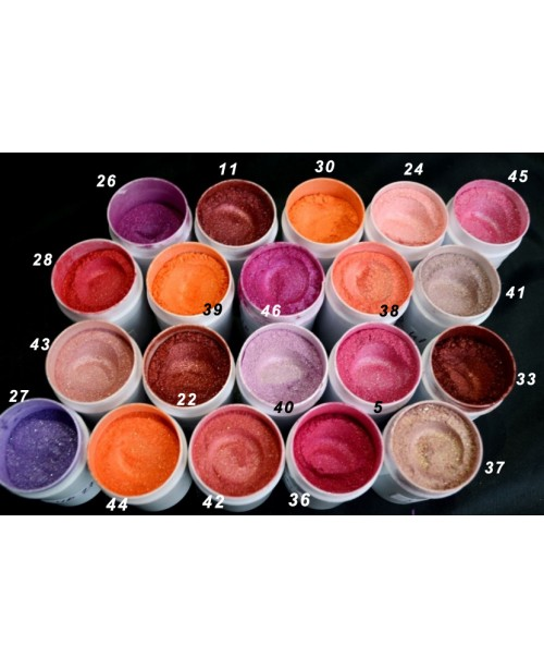 Pigmenti cosmetici nr. 37- 46 - paleta culori roz-...
