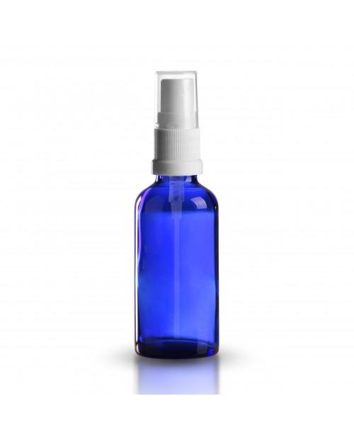 Sticla albastra de sticla cu pulverizator alb/negr...