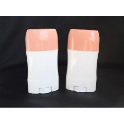 Recipient pentru deodorant/baton stick 40 ml ALB cu capac ROZ-PIERSICA